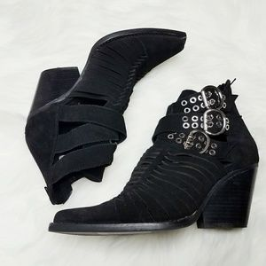 Jeffrey Campbell Suede Side Cutout Booties Buckles